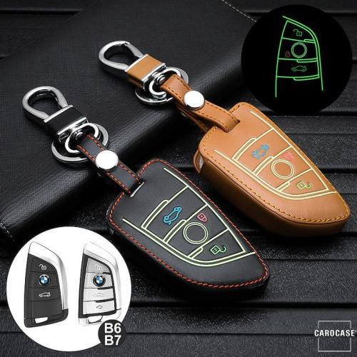 Leder Schlüssel Cover passend für BMW Schlüssel schwarz LEUCHTEND! LEK2-B7-1