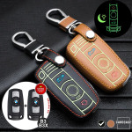 Leder Schlüssel Cover passend für BMW Schlüssel schwarz LEUCHTEND! LEK2-B3-1