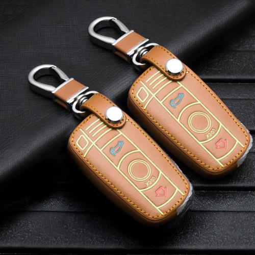 Lumineux coque/housse de clé en cuir pour BMW Voiture brun