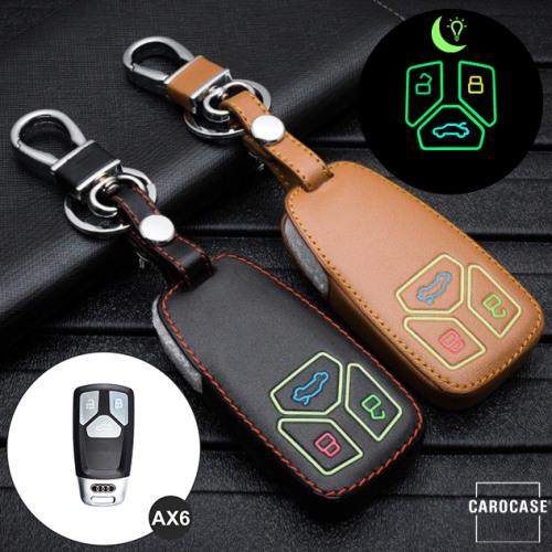 Leder Schlüssel Cover passend für Audi Schlüssel  LEUCHTEND! LEK2-AX6