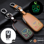 Leder Schlüssel Cover passend für Audi Schlüssel schwarz LEUCHTEND! LEK2-AX6-1