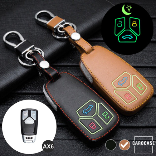Luminous glow leather key case/cover for Audi car keys brown
