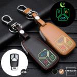 Leder Schlüssel Cover passend für Audi Schlüssel braun LEUCHTEND! LEK2-AX6-2
