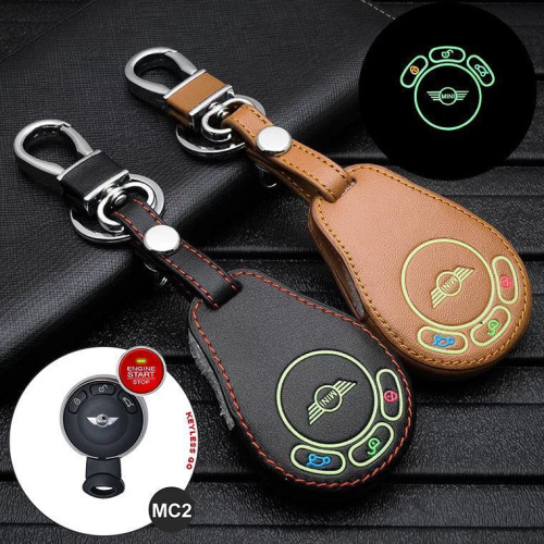 Luminous glow leather key case/cover for MINI car keys brown