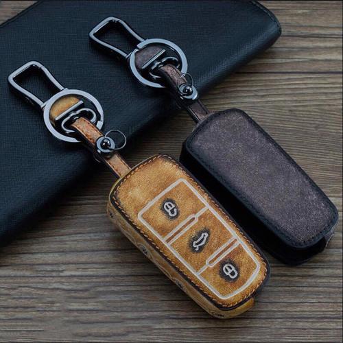 Old looking leather car key case for Volkswagen - keytype V5