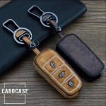 Old looking leather car key case for Volkswagen - keytype V5 brun foncé