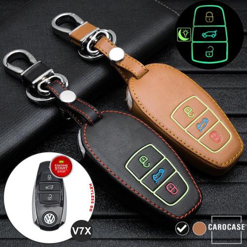 Leder Schlüssel Cover passend für Volkswagen Schlüssel schwarz LEUCHTEND! LEK2-V7X-1