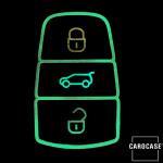 Leder Schlüssel Cover passend für Volkswagen Schlüssel braun LEUCHTEND! LEK2-V7X-2