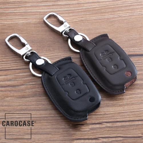Premium Leder Schlüssel Cover passend für Volkswagen Schlüssel braun, dunkelbraun LEK9-V2-2