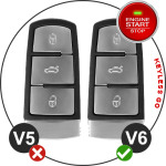 Leder Schlüssel Cover passend für Volkswagen Schlüssel V6
