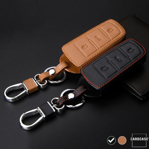 Coque / Housse Clé télécommande en cuir Voiture incl. mousquetons pour Volkswagen noir LEK1-V6-1