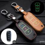 Leder Schlüssel Cover passend für Ford Schlüssel schwarz LEUCHTEND! LEK2-F2-1