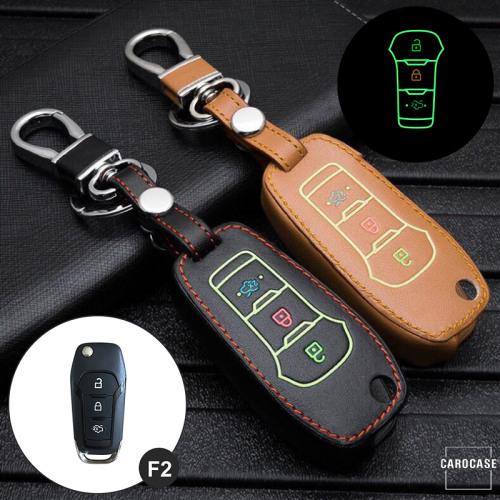 Leder Schlüssel Cover passend für Ford Schlüssel braun LEUCHTEND! LEK2-F2-2