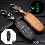 Leder Schlüssel Cover passend für Ford Schlüssel schwarz LEUCHTEND! LEK2-F3-1