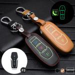 Leder Schlüssel Cover passend für Ford Schlüssel braun LEUCHTEND! LEK2-F3-2