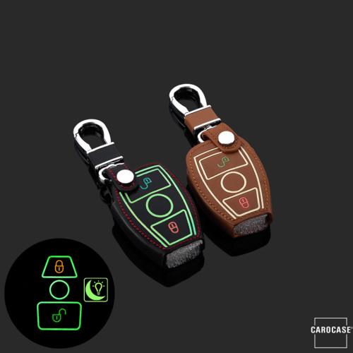 Leder Schlüssel Cover passend für Mercedes-Benz Schlüssel  LEUCHTEND! LEK2-M6