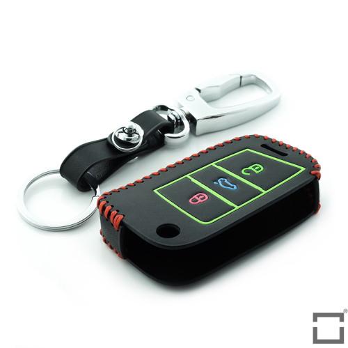 Lumineux housse de clé en cuir pour Volkswagen - clé type V3, noir/rouge