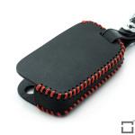 Schlüsseletui aus echtem Leder für Volkswagen Schlüsseltyp V3, mit Leuchtmarkierung und roten Nähten schwarz