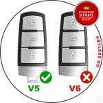 Leder Schlüssel Cover passend für Volkswagen Schlüssel V5 schwarz/schwarz
