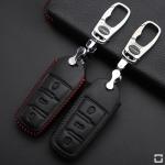 Coque / Housse Clé télécommande en cuir Voiture incl. mousquetons pour Volkswagen noir/noir LEK22-V6-12