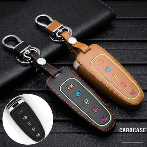 Leder Schlüssel Cover passend für Ford Schlüssel  LEUCHTEND! LEK2-F6