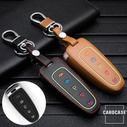 Leder Schlüssel Cover passend für Ford Schlüssel schwarz LEUCHTEND! LEK2-F6-1