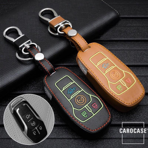 Leder Schlüssel Cover passend für Ford Schlüssel  LEUCHTEND! LEK2-F7
