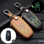 Leder Schlüssel Cover passend für Ford Schlüssel schwarz LEUCHTEND! LEK2-F8-1