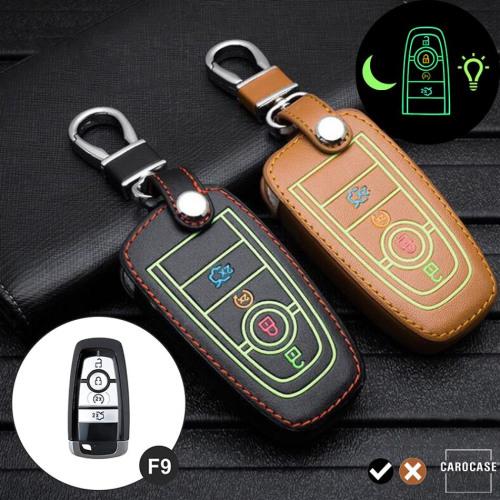 Leder Schlüssel Cover passend für Ford Schlüssel schwarz LEUCHTEND! LEK2-F9-1