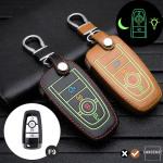 Leder Schlüssel Cover passend für Ford Schlüssel braun LEUCHTEND! LEK2-F9-2