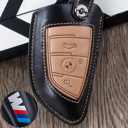 Leather car key case for BMW M-Power - keyt ype B6/B7 black