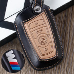 Leather car key case for BMW M-Power - keyt ype B4/B5 black