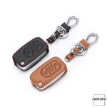 Leather key case/cover incl. keychain for Audi remote key black