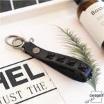 Schlüsselanhänger aus echtem Premium Leder schwarz SAR6-1