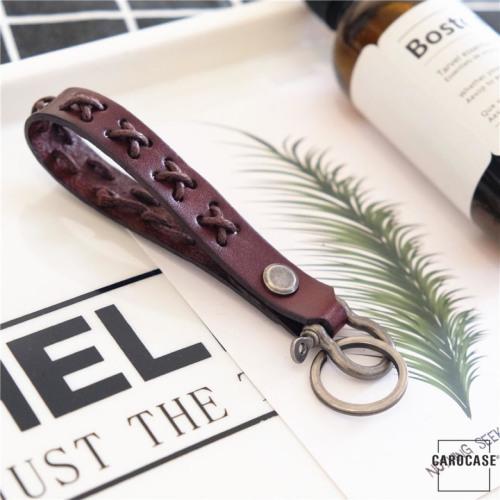 Schlüsselanhänger aus echtem Premium Leder dunkelbraun SAR6-6