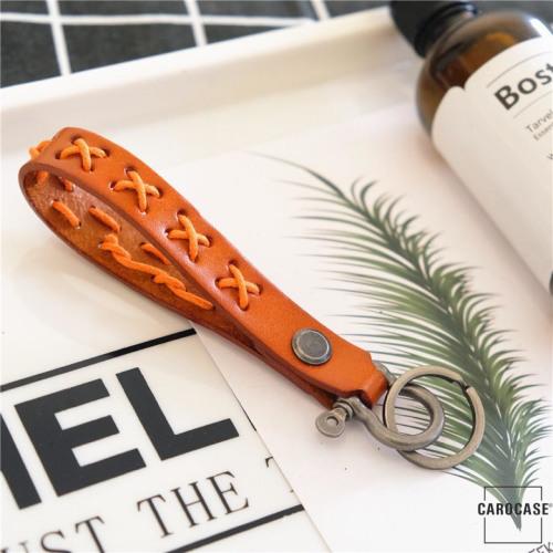 Bracelet porte-clés en cuir brun clair