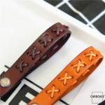 Leather strap in stylish colors made of thick leather light brown