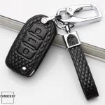 KFZ Funkschlüssel Etui für VW Schlüssel aus echtem Leder, Schlüsseltyp V2