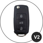 KFZ Funkschlüssel Etui für VW Schlüssel aus echtem Leder, Schlüsseltyp V2 rose pink