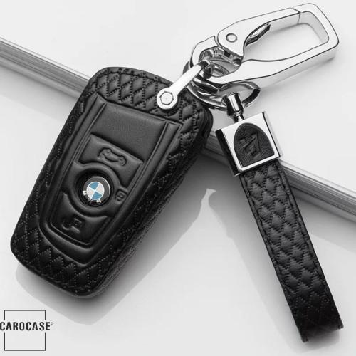 BLACK-ROSE Leder Schlüssel Cover für BMW Schlüssel schwarz LEK4-B4