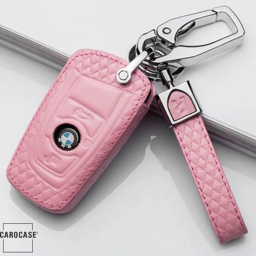 KFZ Funkschlüssel Etui für BMW Schlüssel aus echtem Leder, Schlüsseltyp B4/b5 rose pink