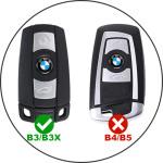 KFZ Funkschlüssel Etui für BMW Schlüssel aus echtem Leder, Schlüsseltyp 3 black