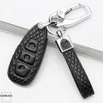 BLACK-ROSE Leder Schlüssel Cover für Ford Schlüssel schwarz LEK4-F5