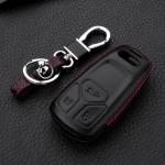 Leder Hartschalen Cover passend für Audi Schlüssel schwarz LEK48-AX6-1