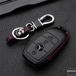 Leder Hartschalen Cover passend für Mercedes-Benz Schlüssel schwarz LEK48-M9-1