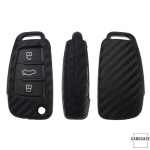 Silikon Carbon-Look Schlüssel Cover passend für Audi Schlüssel schwarz SEK3-AX3 (Schutzhülle + Silikon Karabiner KRB21)