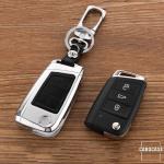 Alu Hartschalen Schlüssel Case passend für Volkswagen, Audi, Skoda, Seat Autoschlüssel chrom/schwarz HEK2-V3-29