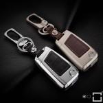 Alu Hartschalen Schlüssel Case passend für Volkswagen, Audi, Skoda, Seat Autoschlüssel champagner matt/braun HEK2-V3-30