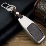 Alu Hartschalen Schlüssel Case passend für Mercedes-Benz Autoschlüssel champagner matt/braun HEK2-M9-30