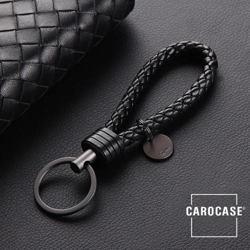 Bracelet porte-clés en similicuir noir